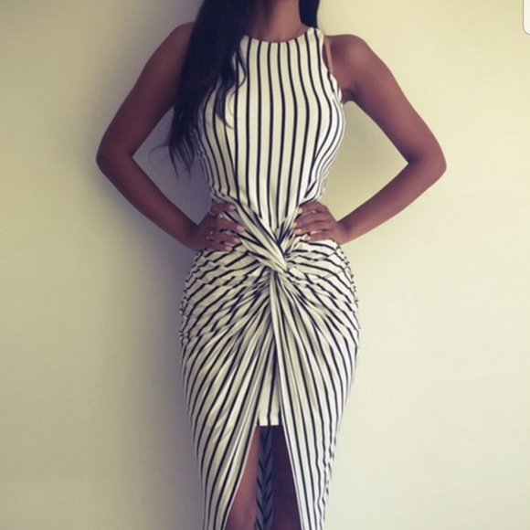 52d9c1e216 Macy s Dresses   Skirts - Black and white striped high low dress